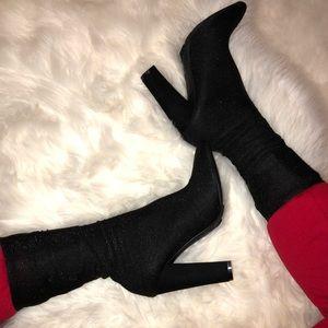 Black shiny sock boots
